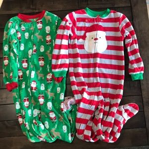 5T Fleece & Footed Santa Pajamas